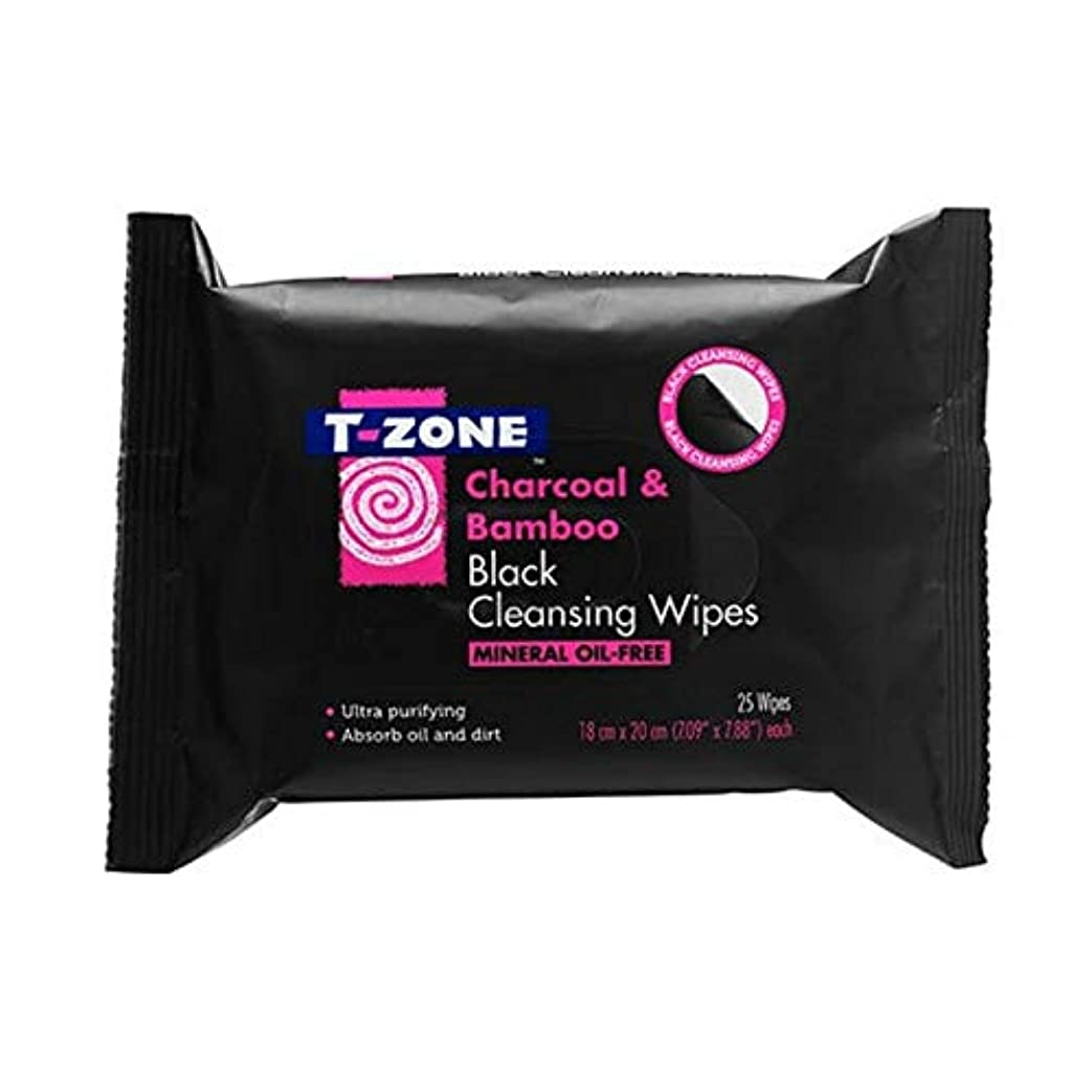 ドライチェス土曜日[T-zone] Tゾーン木炭&竹ブラッククレンジング25Sを払拭します - T-Zone Charcoal & Bamboo Black Cleansing Wipes 25s [並行輸入品]