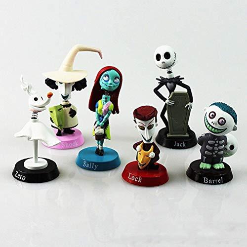 6 figuras de Pesadilla antes de Navidad en miniatura, juguetes para niños, Jack, Sally, shock, cero, cerradura, barril