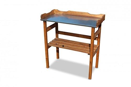 GartenDepot24.de Mesa de madera con superficie de trabajo de metal galvanizado, color marrón, 80 x 40 x 82 cm