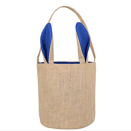 Cozyhoma Osterhase Tasche für Kinder, Kaninchenohren-Design, Wiederverwendbare Einkaufskörbe, Kinder-Tragetasche, Stoffhandtasche für Ostereier, Süßigkeiten-Geschenke Blau-b