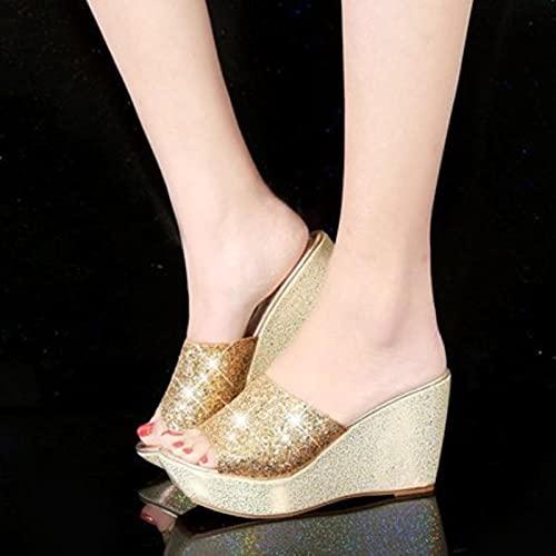 DZQQ Paillettes Plate-Forme Pantoufles Femmes Diapositives compensées Femmes Pantoufles été décontracté Semelle épaisse Chaussures en Argent Mules Talons Hauts Sandales