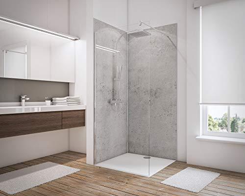 Schulte 4060991008160 Lot de 2 Panneaux muraux pour Salle de Bains DecoDesign 3 profilés, revêtement décoratif 3D Douche, décor Gris Clair, 100x210 cm