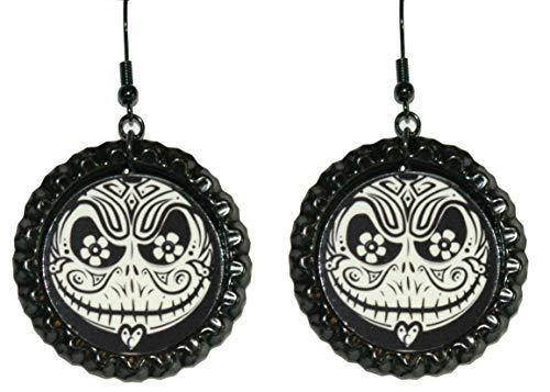 Day of the Dead Jack Skellington Flattened Bottle Cap Dangle Earrings (CAP024a)