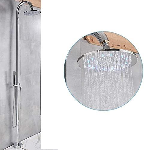 OUWTE Grifo de bañera LED Juego de Grifo de Ducha al Aire Libre Grifo de bañera de pie Giratorio 10'Cabezal de Lluvia Grifo Mezclador de baño Grifo Mezclador en frío Caliente, LED