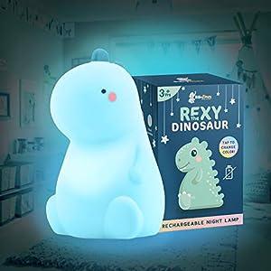 Rexy The Original Dinosaur Night Light by BabyTimes – Cute Baby Night Light, Night lamp Rechargeable LED Bedside Nursery Lamp Tiktok Dinosaur lamp for Boys & Girls (USB Powered)