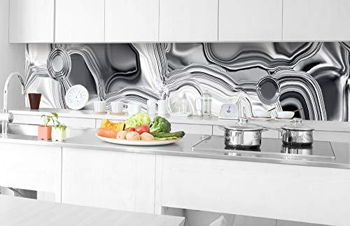 DIMEX LINE Küchenrückwand Folie selbstklebend FLÜSSIGES Silber 350 x 60 cm | Klebefolie - Dekofolie - Spritzschutz für Küche | Premium QUALITÄT