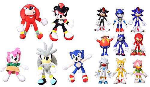 Juguetes Sonic 14 unids / Lote Sonic Juguetes de Peluche muñeca Negro Azul Sombra Sonic Peluche Suave Juguete de Peluche para niños