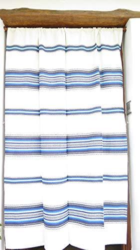 Cortina Alpujarreña Rustica,(160 x 215 cm), Azul Crudo Color 100 Hecha en España, Fibra Natural de algodón - Cortina para Puerta Exterior mosquitera y Parasol