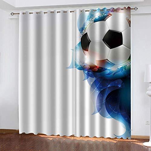 AXGTHQE Vorhänge Blickdicht Fußball Energiesparen Lärm Wärmedämmender Vorhang Aus 100% Polyester,Behandlung Für Schlafzimmer Wohnzimmer Kinderzimmer Vorhänge-