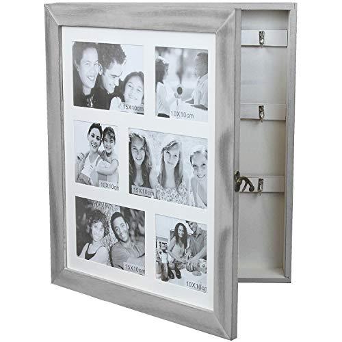 Wohaga Gabinete de Llaves/gabinete de joyería con galería de Fotos para 6 Fotos 10x10cm 15x10cm, joyero, Cofre de joyería, Caja de Llaves