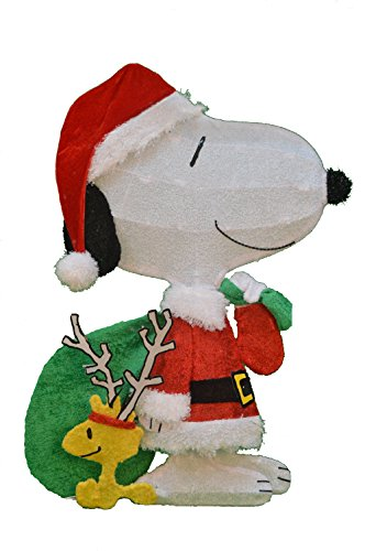 ProductWorks 32-Inch Pre-Lit Peanuts Snoopy Santa with Woodstock Christmas Yard Decoration, 50 Lights