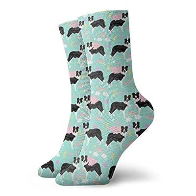 Calcetines de unicornio para mujer, divertidos con borde de collie, casual, atlético, 30 cm