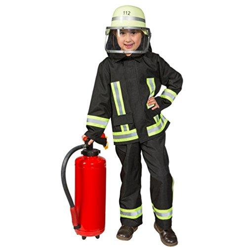 Kostüm Feuerwehr Junge Uniform Feuerwehrmann Anzug Fasching (140, Schwarz)