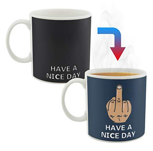 Decodyne Funny Coffee Mug, Color Changing Middle Finger Mug for Women 16 oz.