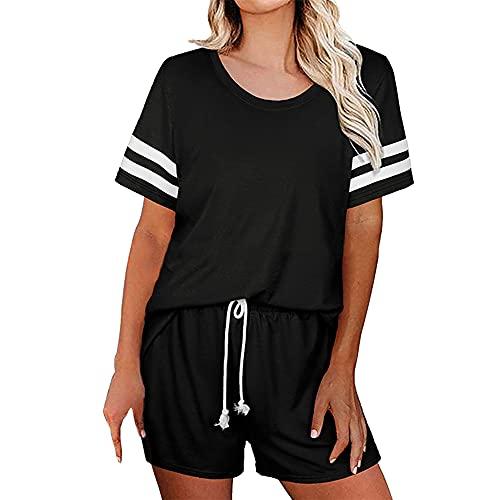PRJN Pijama de Verano de Color sólido para Mujer, Pijama de 2 Piezas, Conjunto de Pijama de Manga Corta para Mujer, Conjunto de Pijama Informal de Color sólido para Mujer, Pijama de Manga Corta