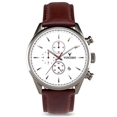 Vincero Luxury Men's Chrono S Wrist Watch - Top Grain Italian Leather Watch Band - 43mm Chronograph Watch - Japanese Quartz Movement (Nickel/Oxblood)