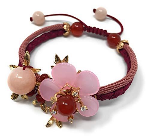 Pulsera de cuerda hecha a mano con diseño de flor de esmalte rosa