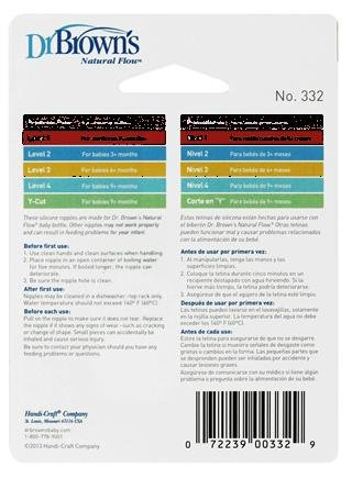 Dr. Brown's 2 Pack Natural Flow Level 2 Standard Nipple