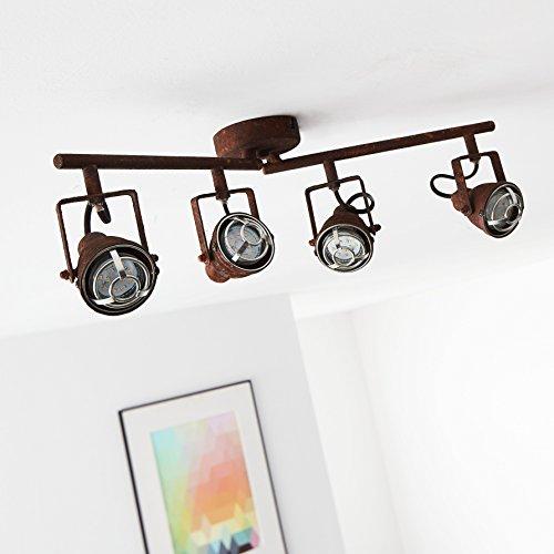 Lightbox Lámpara de techo rústica con 4 focos y brazos giratorios, 4 casquillos GU10 para máx. 4 W, metal, color marrón
