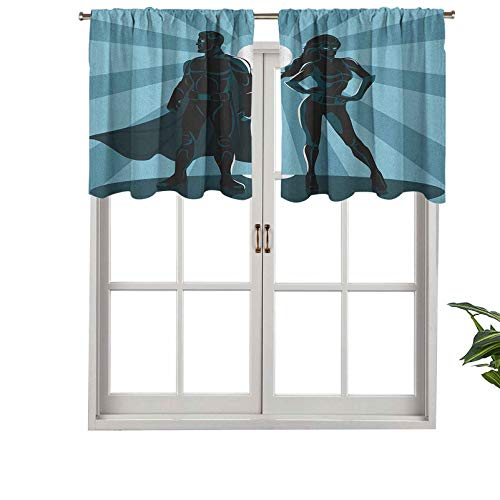 Hiiiman Blackout Curtains Valance with Rod Pocket Man Woman Superheroes Costume with Masks Capes Night Protector, Set of 2, 54'x24' for Living Room Bedroom Home Decor