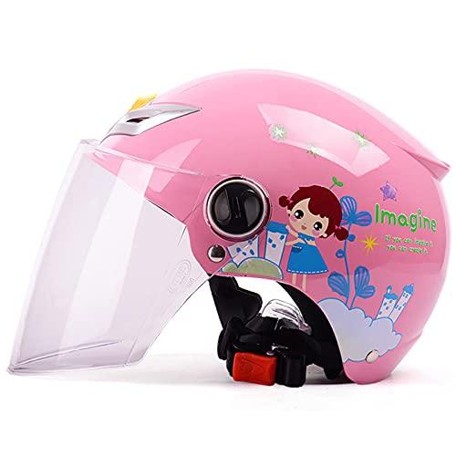 Casco de motocicleta para niño, verano fresco de dibujos animados moda linda motocicleta medio cascos eléctrico bicicleta scooter patinaje ciclomotor casco para niños niñas niños edad 3-8,Rosado,B