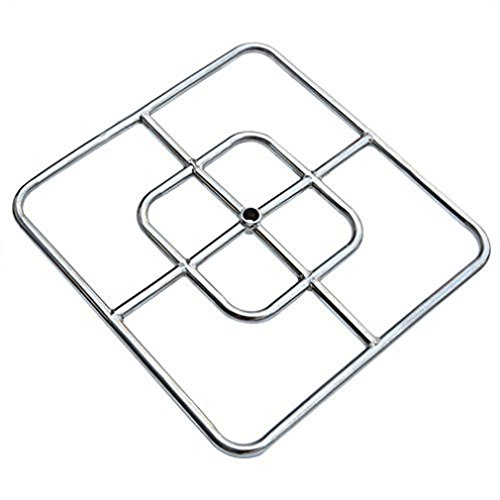 onlyfire 12-Inch Stainless Steel Square Fire Pit Burner, Double Ring