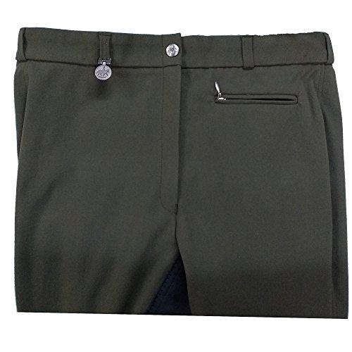 Pikeur Damen Reithose Lugana mit Kontrast Einsatz, feiner elastischer Stoff, Prestige-Micro Exclusive Schoeller (88, Khaki-grau)