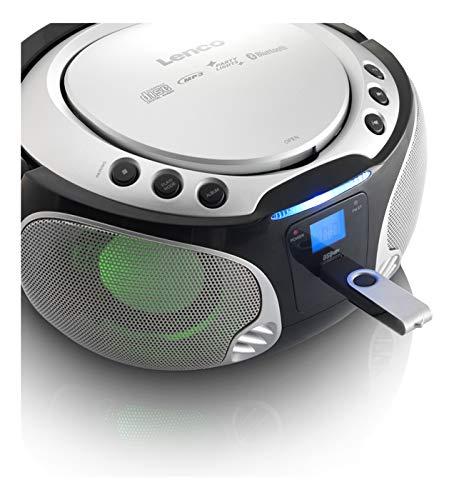 Lenco Boombox SCD-550 blue Tragbar mit Discolichteffekt, FM Radio, USB Playback, Bluetooth, AUX-Eingang, Kopfhörerbuchse silber