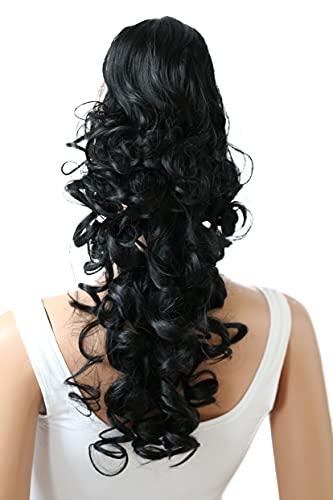 PRETTYSHOP 50cm Haarteil Zopf Pferdeschwanz Haarverlängerung Voluminös Gewellt Schwarz HV1