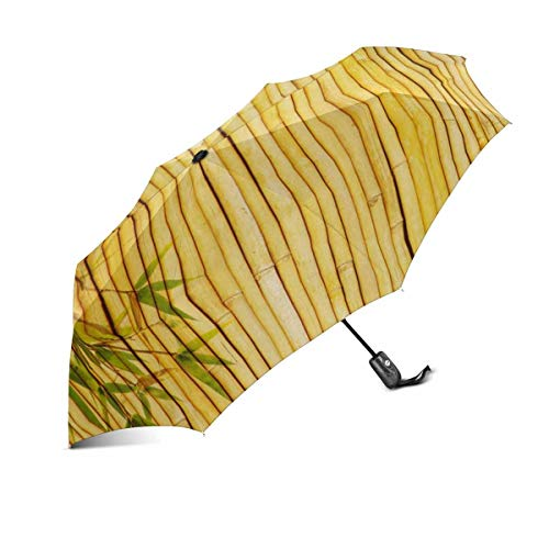 Sommerlicht Goldener Bambus mit Bambusblättern und -ästen Winddichter automatischer Klappschirm zum Öffnen und Schließen Unzerbrechlicher tragbarer Outdoor-Reise-Kompaktschirm mit UV-Schutz