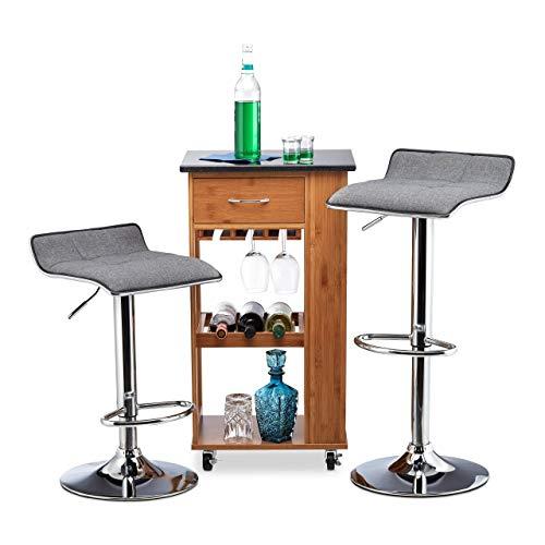 Relaxdays, höhenverstellbar, drehbar, bis 120 kg, Metall, Kunstleder, HxBxT: 86 x 39 x 39 cm, grau Barhocker Chillout A 2er Set, Stoff, verchromter Stahl, Schaumstoff, Standard