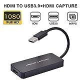 yummyfood HDMI Capture Karte USB 3.0 Videoschnittkarten 1080P 60fps HDMI Game Capture Card HDMI Aufnahmekarte Für PC, Laptop, PS4, Kamera, TV-Box