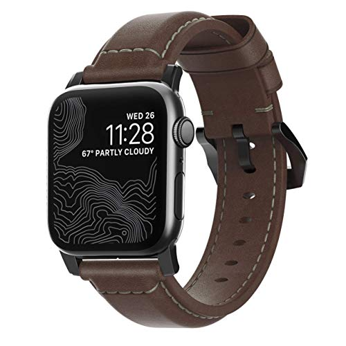 Nomad Traditional Horween - Correa de piel para Apple Watch (42 mm), color negro