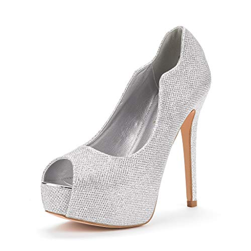DREAM PAIRS Women's Swan-25 Silver High Heel Platform Dress Pump Shoes Size 9 M US