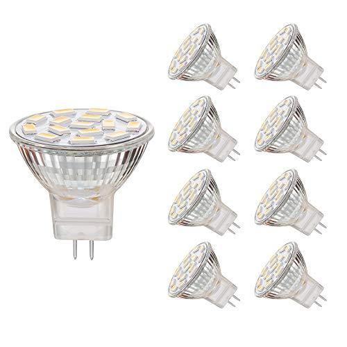 EKSAVE MR11 GU4.0 3.5W LED Glühbirnen, Äquivalent zu 25-35W Halogenlampen, GU4.0 Base AC/DC 12V, 350 LM, 120 ° Flutlichtstrahl, Einbauleuchten, Schienenbeleuchtung (3000K, 8pcs)