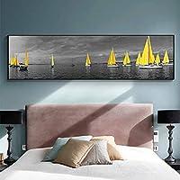 """海黄色のボート橋塔のポスターとプリント家の風景写真キャンバス絵画リビングルームの装飾のための壁の芸術50x150cm(20""""x59"""")フレームなし"""