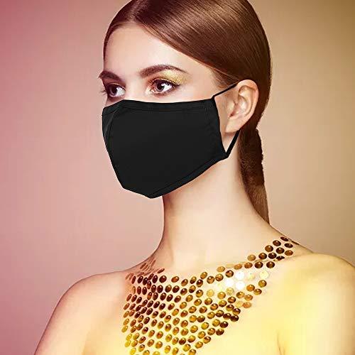 5x Masken Stoff Mund-Nasen Maske waschbar Mund-Nasen Abdeckung 100% Baumwolle und 5 OP Masken gratis (Schwarz, 5er)