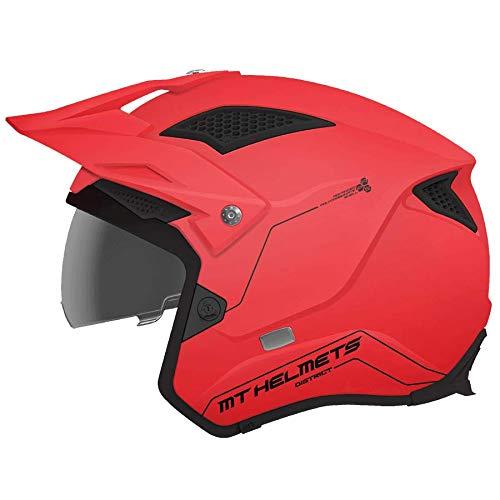 casco moto trial -MT- Casco Trial Jet District SV SUMMIT A5 Rosso Opaco con visiera solare (L (59-60))