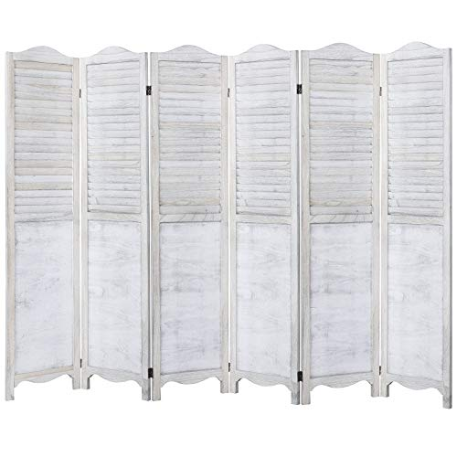 Rose Home Fashion RHF 5.6ft.Tall Vintage Rustic Design Wood Crafted Room Divider/ 6 Panels Screen Panel Folding Privacy Partition Wall Room Divider Wood Screen, Freestanding,6-Panel 5.6-Feet,White