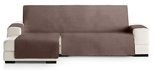 JM Textil Copridivano Salvadivano Chaise Longue Elena, Protezione Imbottita per divani Bracciolo Sinistro. Dimensione -290cm. Colore Marrone 07 (Visto di Fronte)