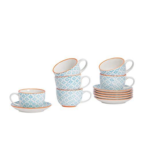 Nicola Spring Juego de café - Taza para Capuchino con platillo de Porcelana - Estampado Azul/Naranja - 250ml - Pack de 6