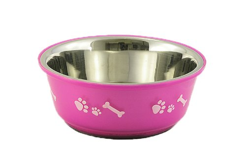 Buddy'S Line Non-Skid Stainless Steel Fusion Pet Bowl, Fuchsia with White Bone and Paw, 1-Quart