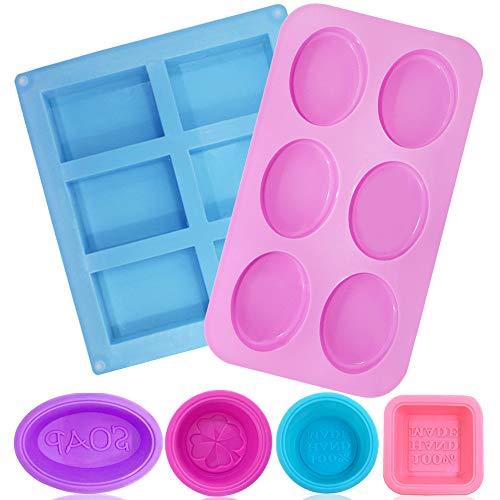 FineGood - 6 stampi per sapone in silicone per la produzione di sapone, rettangolari e ellissi, per saponi, 6 vassoi per muffin e muffin