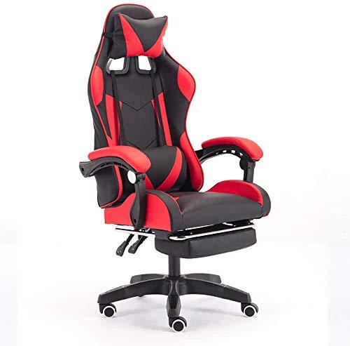 WSJYP Gaming Stuhl mit Fußstütze, Drehstuhl mit Ottomane, Kopfstütze und Lordosenstütze E-Sports Drehstuhl,Red