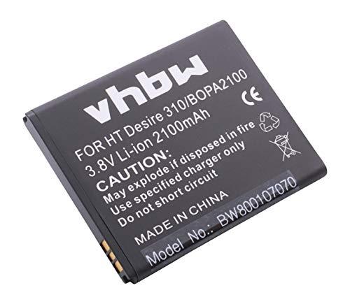 vhbw Li-Ion Akku 2100mAh (3.8V) für Handy Handy Smartphone HTC Desire 310, D310, D310f, D310w, Desire V1 wie 35H00211-00M-V, B0PA2100.