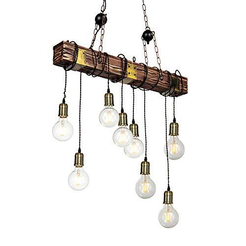 Deckenlampe, 8 flammige Vintage Deckenleuchte Hängelampe im Industrial Design, Retro Pendelleuchte Hängend aus Stahl und Holz, Farbe: Schwarz, Braun, Fassung: E27