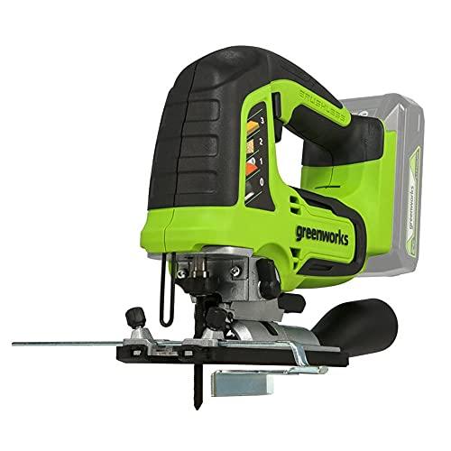 Greenworks Tools Seghetto alternativo a batteria 24V con lama in legno e metallo per fai da te (motore brushless, 3000 SPM, angolo di taglio 45 gradi, illuminazione a LED)