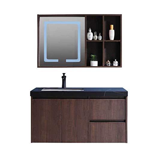 Honglimeiwujindian Wandschrank Mit Spiegel Massivholz Badezimmerkabinett Kombination Einfache Marmor-Waschtisch-Badezimmer Smart Spiegelkabinett Perfekte Dekoration Unit Storage Möbel