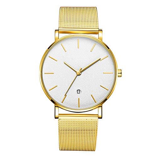 GJHBFUK Mire El Reloj De Pulsera De Cuarzo Análogo De Marcación Redonda De Moda (Caja De Oro del Cinturón De Oro, Aguja De Oro del Espejo Blanco)