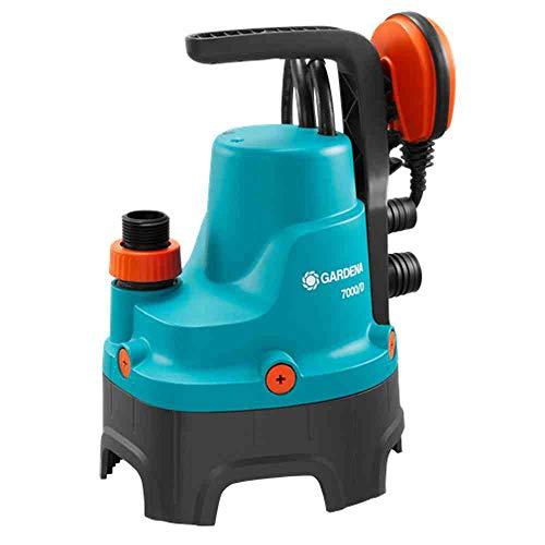 GARDENA 01665-61 Schmutzwasser-Tauchpumpe 7000/D, 300 W, türkis, schwarz, Orange